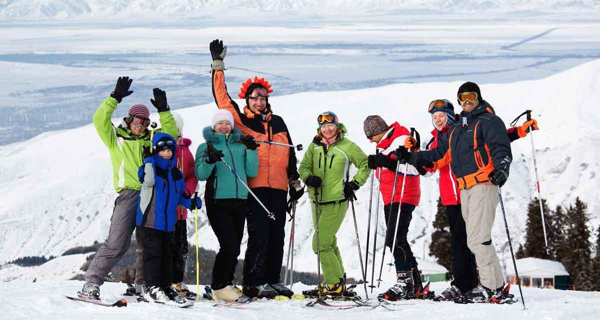 wintersport met groep